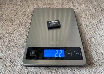 Unofficial battery weight: 22g